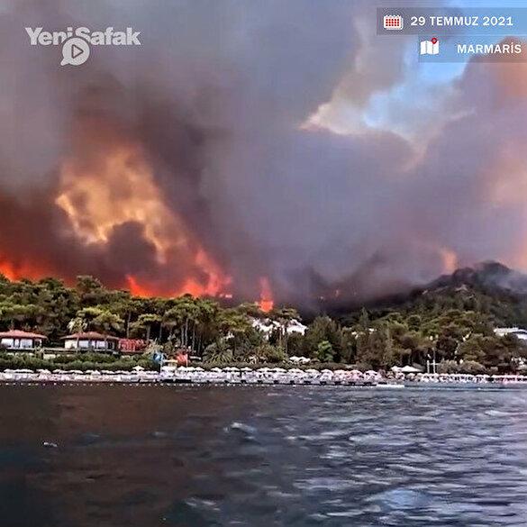 Marmaris'teki yangın yerleşim birimlerine yaklaştı: Dehşete düşüren görüntüler