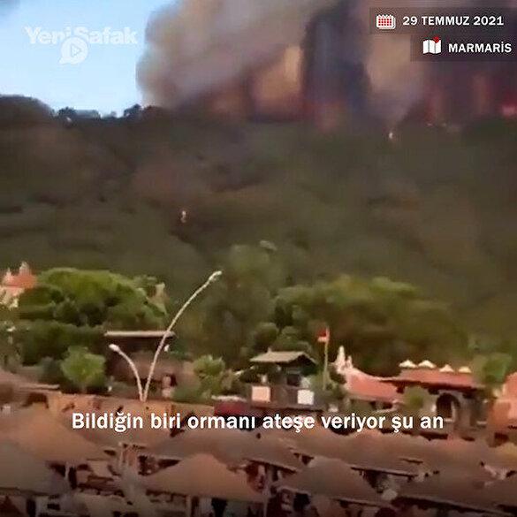 Marmaris'teki yangın vatandaş kamerasında: Biri ormanı ateşe verdi bak!