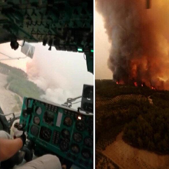 Helikopter pilotlarının yangına müdahale sırasında çektiği görüntüler paylaşıldı
