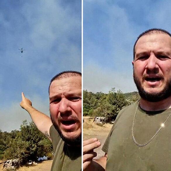 Şahan Gökbakar yangın söndürme çalışmalarını anbean kaydetti: Allah razı olsun yetkililere minnettarız