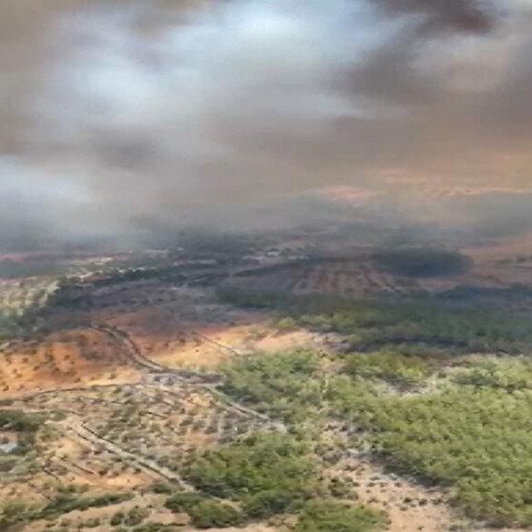 Milas yangının 5. gününde havadan böyle görüntülendi