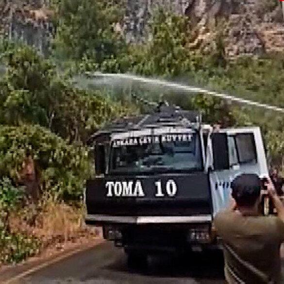 Polis TOMA'ları yerleşim yerlerine 80 metre kala alevleri söndürdü