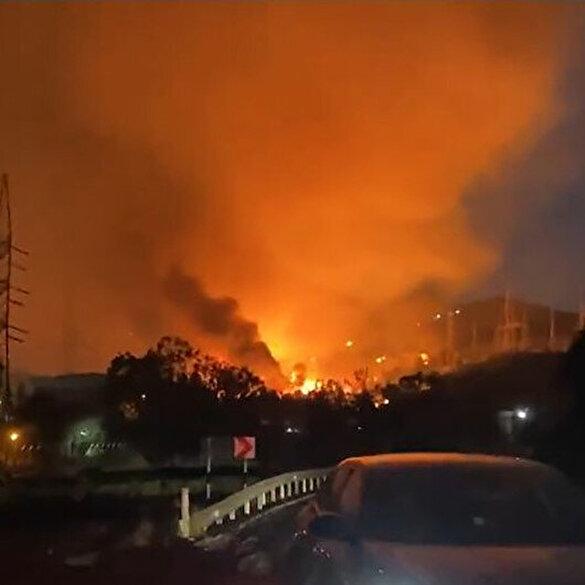Milas'taki yangında alevler termik santrale sıçradı