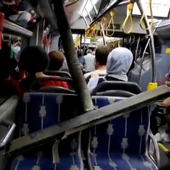 İETT otobüsünde bu kez reklam panosu düştü
