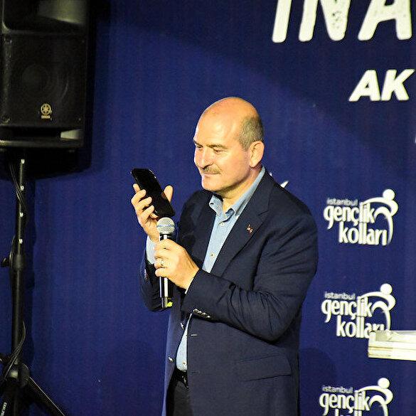 Edirne'de gençler slogan atınca Bakan Soylu Cumhurbaşkanı Erdoğan'a telefon açtı