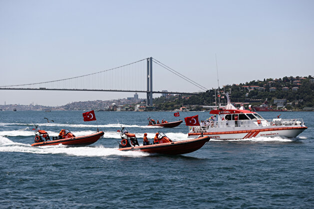 Boats put on show marking July 15 Democracy and National Unity Day in Istanbul