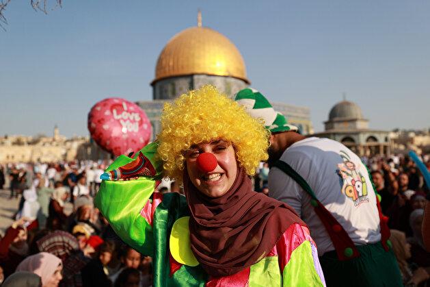 Palestinians celebrate Eid al-Adha at Masjid al-Aqsa in Jerusalem
