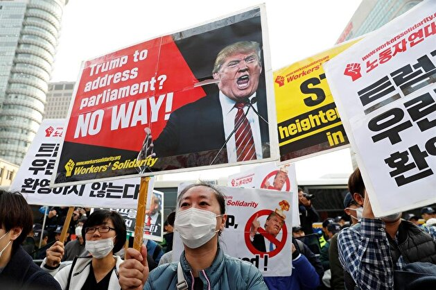 Protesters hold anti-Trump rally in central Seoul