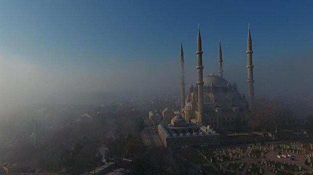 Landmark Selimiye Mosque wrapped in fog