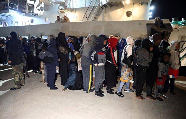 Libyan coast guards rescue migrants in the Mediterranean Sea