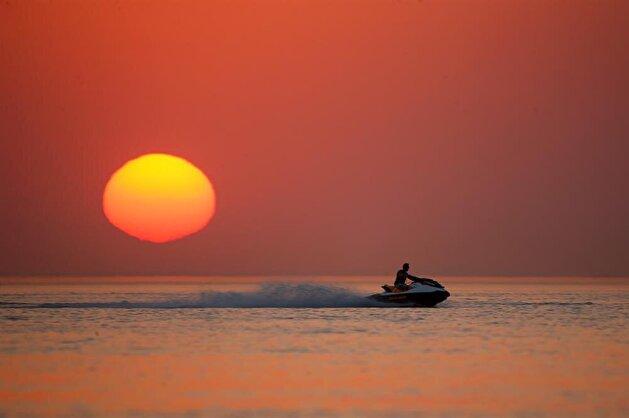 Dazzling sunset at Lake Van in Turkey