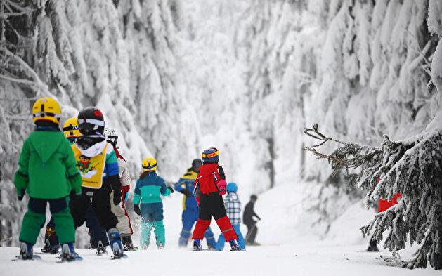Winter at mountain Fichtelberg in Oberwiesenthal