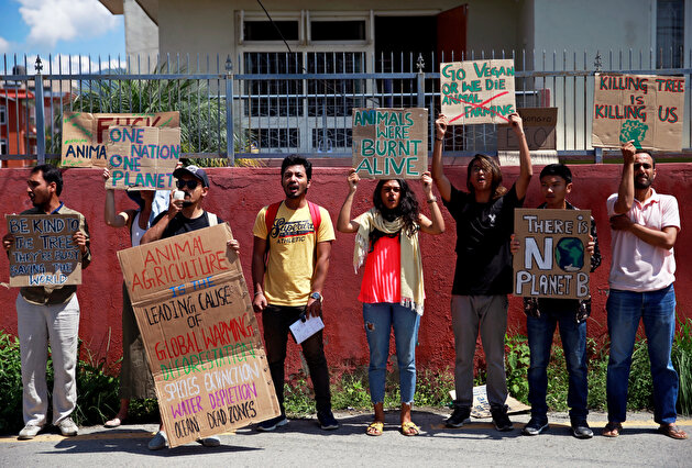 Activists demonstrate for Amazon rainforest in Nepal