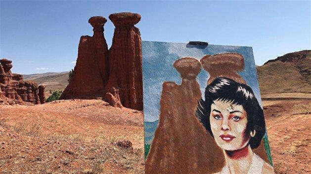 Artist paints celebrities in Turkey's wonderland of 'fairy chimneys'
