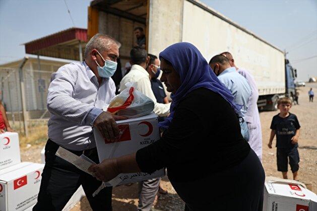 Turkish Red Crescent distributes food and hygiene aid to Yazidis in Iraq's Duhok