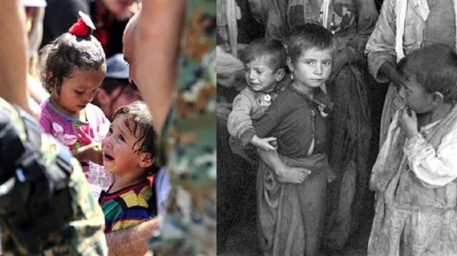Photos of refugees of World War II and Syrian Civil War