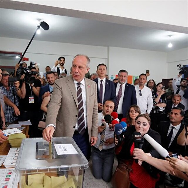 Turkey's main opposition presidential candidate İnce votes in elections