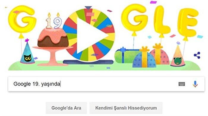 19 yaşına giren Google, doğum gününe özel Doodle hazırladı