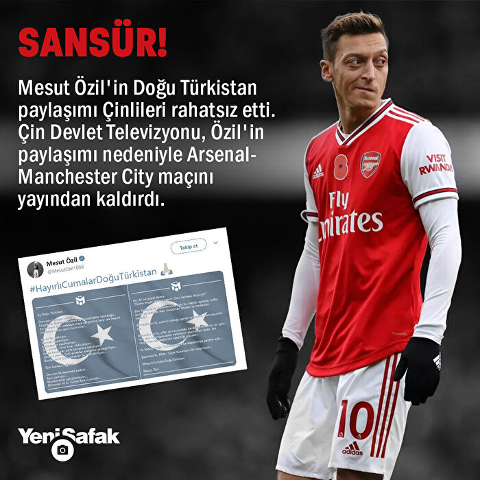 Mesut Özil'e Doğu Türkistan sansürü