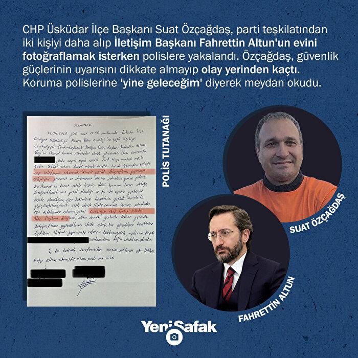 CHP Üsküdar İlçe Başkanı Suat Özçağdaş, İletişim Başkanı Altun'un evini gizlice görüntüledi