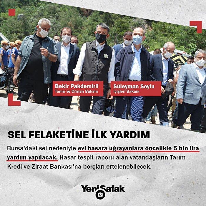 Bursa'da evi hasara uğrayanlara 5 bin lira yardım yapılacak