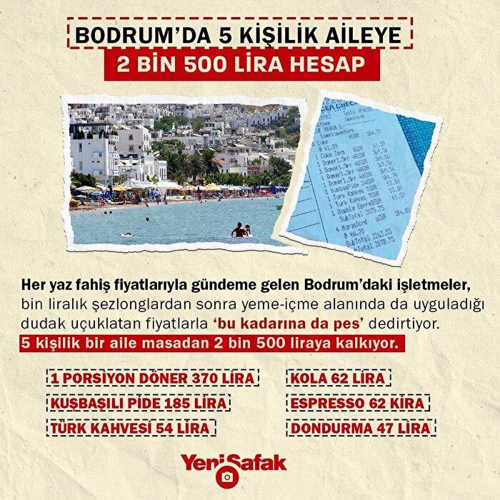Bodrum'da 5 kişilik aileye 2500 lira hesap geldi
