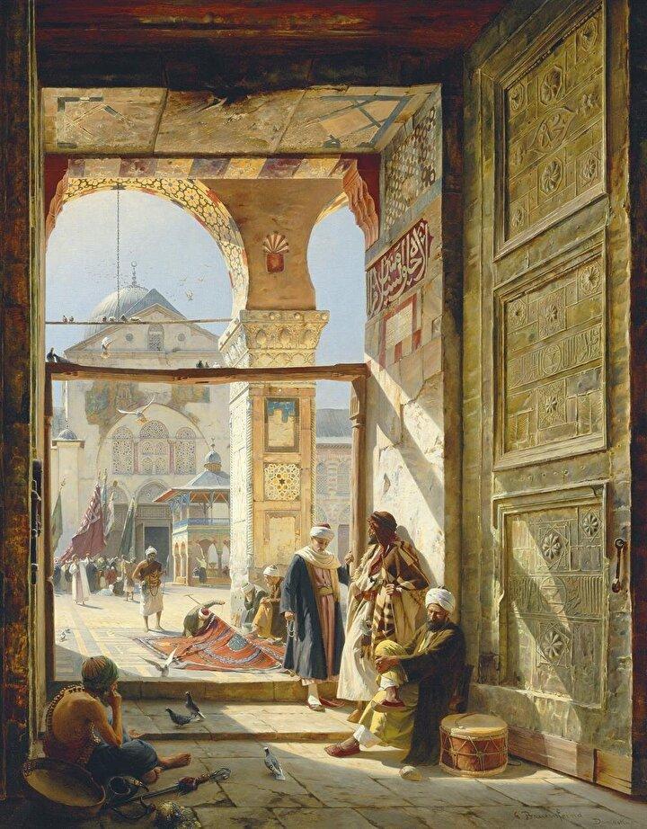 Gustav Bauernfeind'in Şam'daki Emevi Camii'ni çizdiği resmi.
