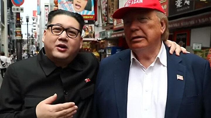 Trump ve Kim Jong Osaka sokaklarında kol kola yürüdü