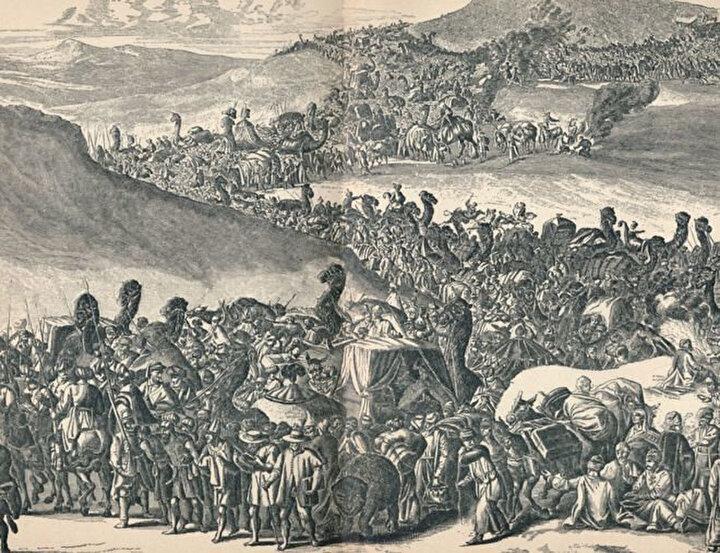 Mensa Musa'nın, 60 bin kişilik bir kafileyle Mekke'ye doğru yola çıkışı.