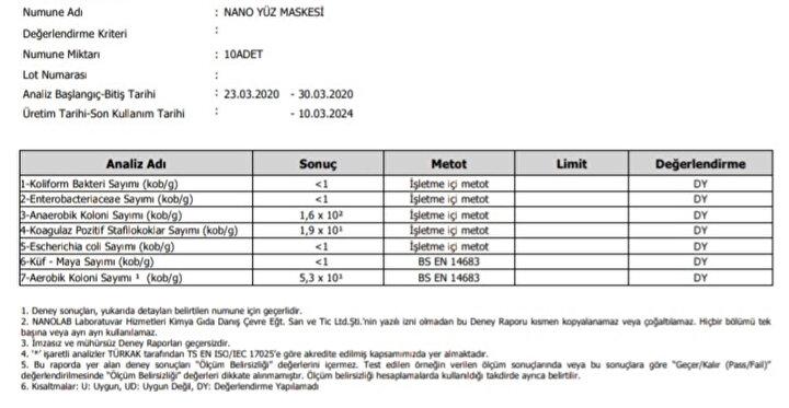Satıcıların onay testi raporu olarak sunduğu belge
