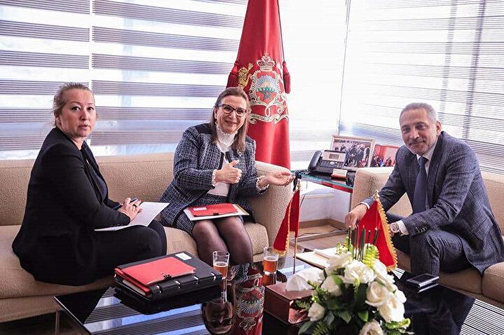 Türk Ticaret Bakanı Ruhsar Pekcan ile Fas Ticaret Bakanı Mulay Hafid el Alami'nin görüşmesi.