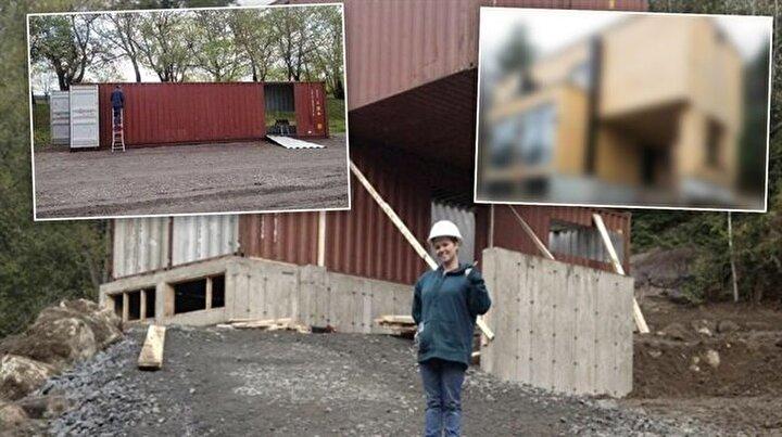 İstediği evi 4 konteyner ile yaptı