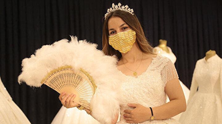 Gelinlerin yeni modası altın işlemeli maske: 14 bin liradan satılıyor