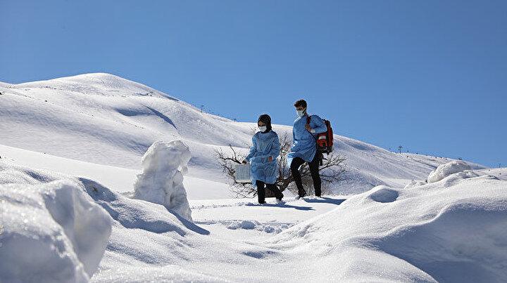 Karlı dağların eteklerinde 2 bin 500 metrede aşı yolculuğu