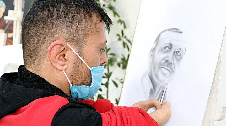 Elleri olmayan Vanlı ressamdan Erdoğan portresi: Resim beni karanlıktan aydınlığa çıkardı