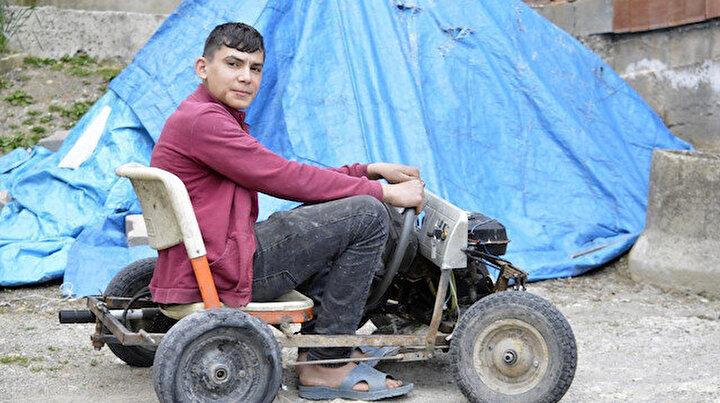Henüz 16 yaşında hurda malzemelerden 4 tekerlekli araç yaptı: Bir litre benzinle 30 km gidebiliyor
