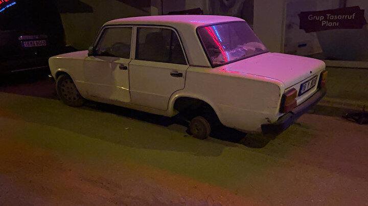 Çaldığı otomobilin lastiği patladı: Başka aracın lastiğini sökerek değiştirip kaçtı