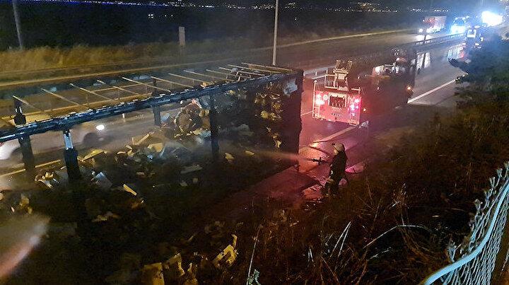 TEM Otoyolunu trafiğe kapatan yangın