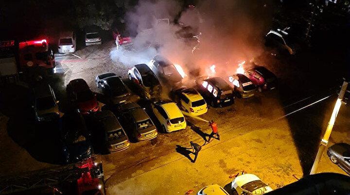 Otel otoparkında yangın çıktı 10 araç küle döndü