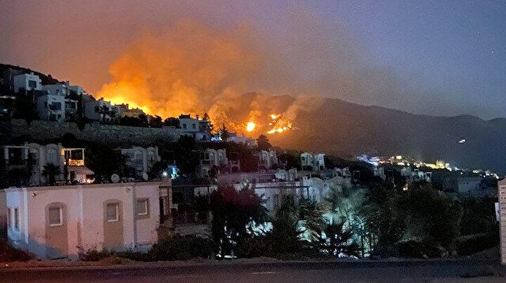 Bodrum'da korkutan yangın: Evlere ulaşmadan kontrol altına alındı