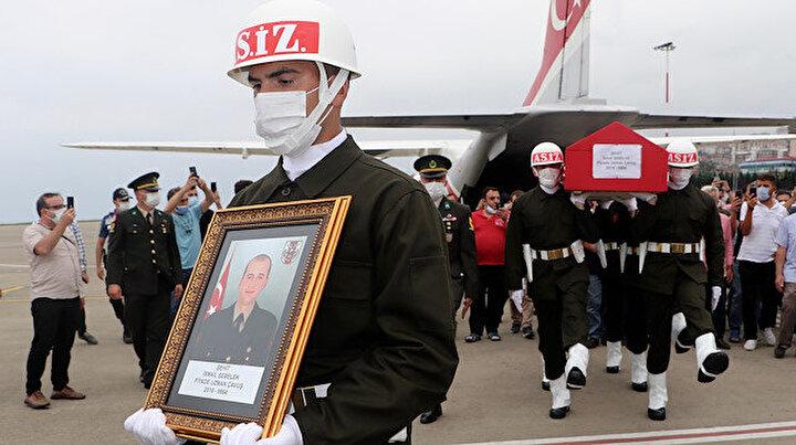 Şehit Uzman Çavuş İsmail Şebelek'in cenazesi Trabzon'a getirildi