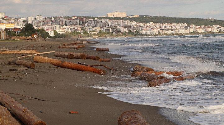 Ne kadar dehşetli bir felaket: Ayancık'ta sel sularının denize sürüklediği tomruklar Samsun sahillerinde