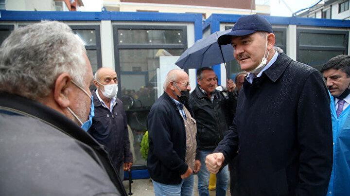 İçişleri Bakanı Soylu sel bölgesi Bozkurtta incelemelerde bulundu