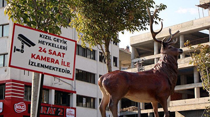 CHPli Bolu Belediyesinin geyik heykellerine kameralı takip
