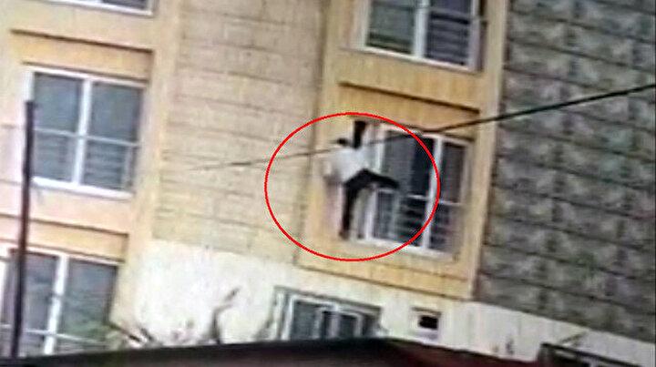 Girdiği dairede ev sahibiyle karşılaşan hırsız pencereden atladı