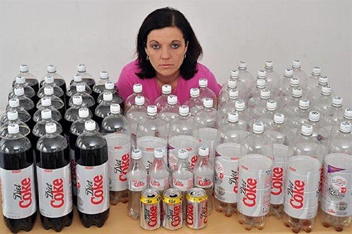 Ballan, günde tam 16 litre diet kola tüketiyor. Bazı günler günde 50 kutu kola içen kadın, her hafta kendi ağırlığının 2 katı kola tüketiyor.