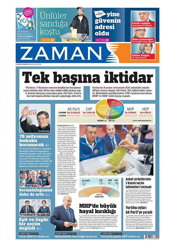 2 Kasım gazete manşetleri