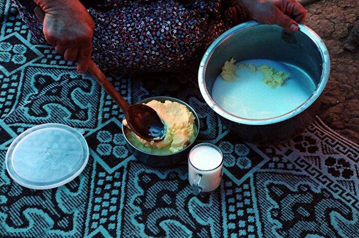 Savrun, kadınların el emeği sayesinde zahmetli bir yolculuğun ardından tüketime hazır hale gelen tereyağı ve çökeleğin yapılışını şöyle anlattı:
