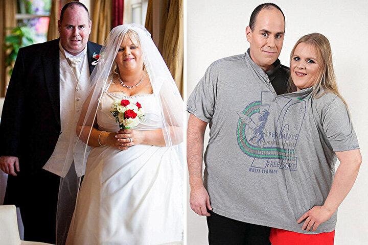 Düğün fotoğrafları ile aynı tişörte sığdıkları fotoğraf arasında toplam 155 kilogram fark olan bu çift.