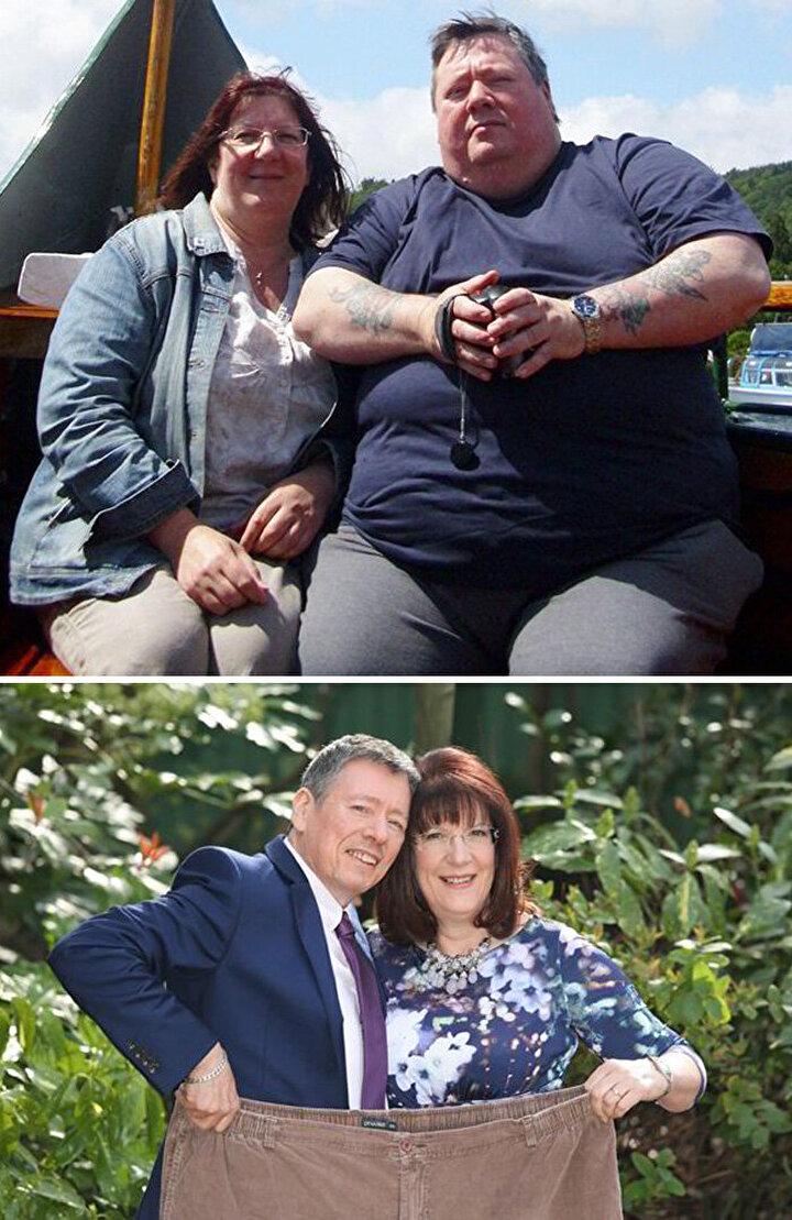 Zayıflama kararı aldıktan sonra toplam 140 kilo veren ve bir pantolona sığacak şekile gelen çift.